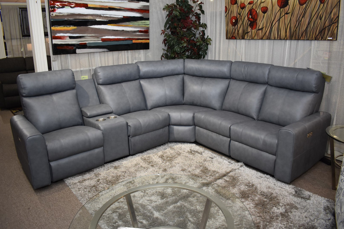 Incredible Elran Leather Reclining Console Sectional W Power Headrests Ncnpc Chair Design For Home Ncnpcorg